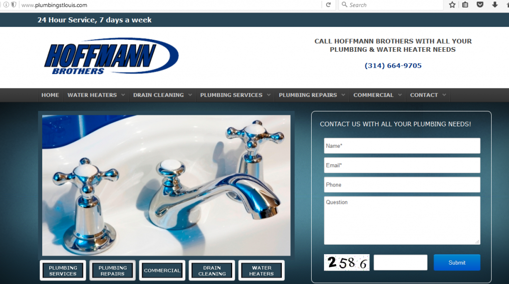 Notice how this site for a plumbing service has an easy-to-spot phone number and contact form right on the landing page.